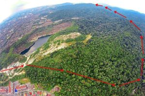Aerial view of the Ampang Forest Reserve with markings showing the proposed alignment of the Kuala Lumpur Outer Ring Road - Eastern Route. A total of 106.65ha will be used for the proposed project. – filepic (The Star)